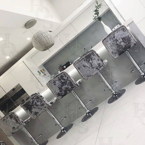 Image of Bespoke Metal Base Bar Stools | HOS Home | Mirrored furniture | Affordable Luxury