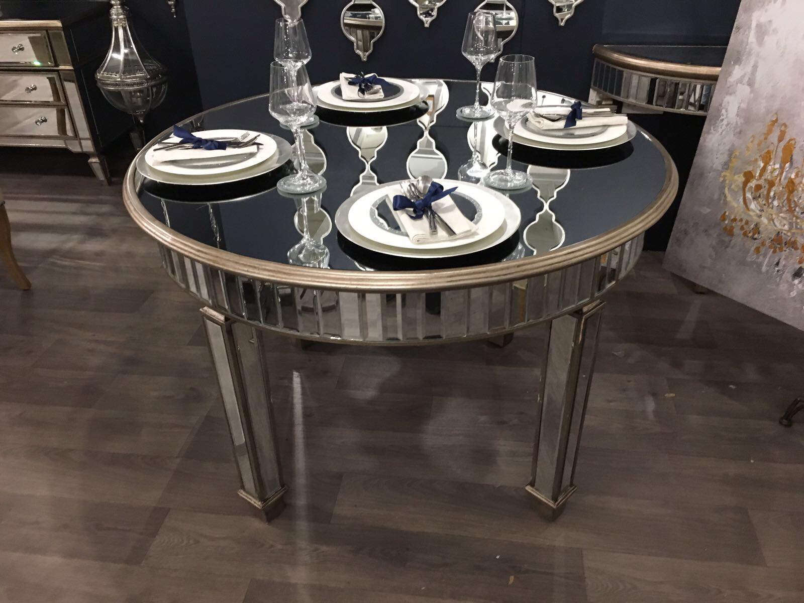 Antique Mirrored Grand Mirrored Dining Table - Mirrored furniture - Sparkle Diamond - House of Sparkles