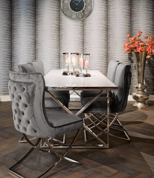 Aries Buttoned Velvet and Chrome Dining Chair in Grey | HOS Home | Mirrored furniture | Affordable Luxury