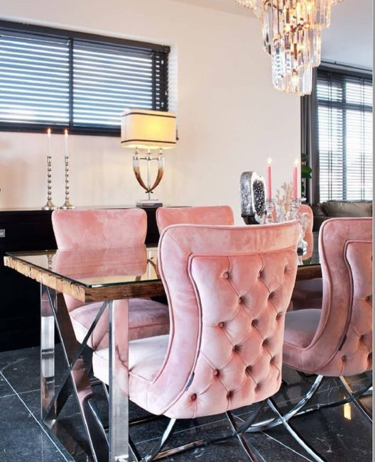 Aries Buttoned Velvet and Chrome Dining Chair in Blush Pink | HOS Home | Mirrored furniture | Affordable Luxury