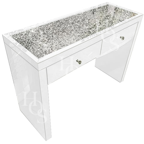 White Mirror Crush 2 Drawer Dressing Table