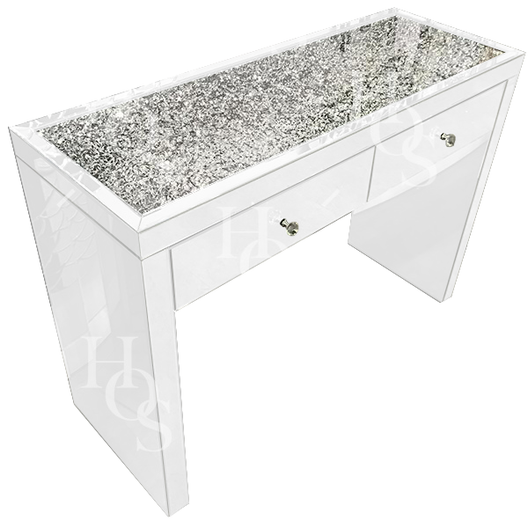 White Mirror Crush 2 Drawer Mirrored Dressing Table