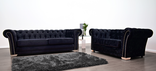 Anna Chesterfield 3 and 2 Seater Sofa in Black Velvet | HOS Home | Mirrored furniture | Affordable Luxury