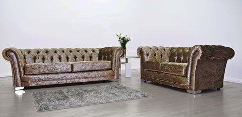Anna Chesterfield 3 and 2 Seater Sofa in Mink Velvet - Mirrored furniture - Sparkle Diamond - House of Sparkles
