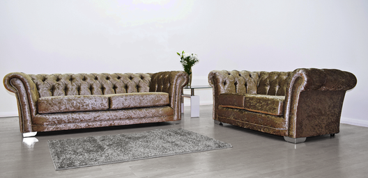 Anna Chesterfield 3 and 2 Seater Sofa in Mink Velvet | HOS Home | Mirrored furniture | Affordable Luxury