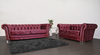 Anna Chesterfield 3 and 2 Seater Sofa in Mulberry Velvet - Mirrored furniture - Sparkle Diamond - House of Sparkles
