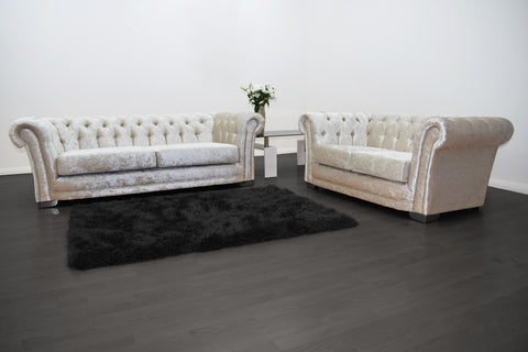 Anna Chesterfield 3 and 2 Seater Sofa in Cream Velvet - Mirrored furniture - Sparkle Diamond - House of Sparkles