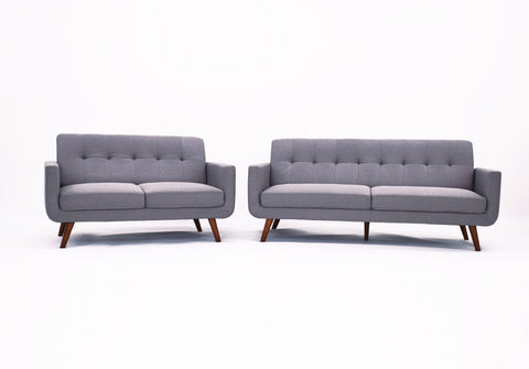 Tristan 3 and 2 Seater Sofa Set in Grey Fabric