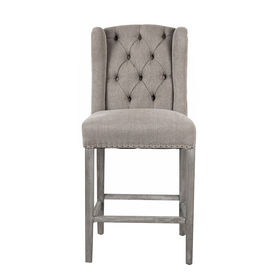 Silver Linen Luxury Wingback Bar Stool