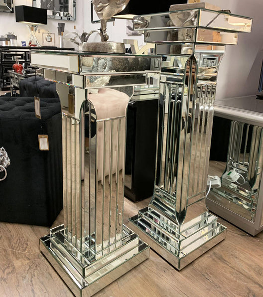 Classic Mirrored Pillar Side Table | HOS Home | Mirrored furniture | Affordable Luxury