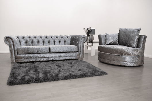 Anna Chesterfield 3 Seater and Cuddle Chair in Silver Velvet | HOS Home | Mirrored furniture | Affordable Luxury