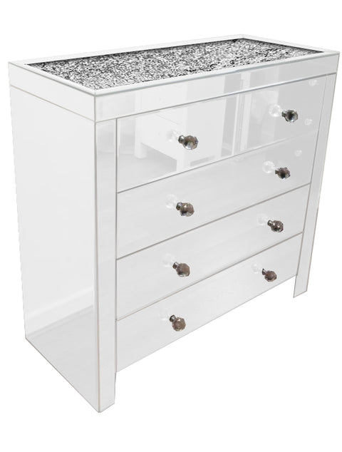 White Mirror Crush 5 Drawer Chest of Drawers