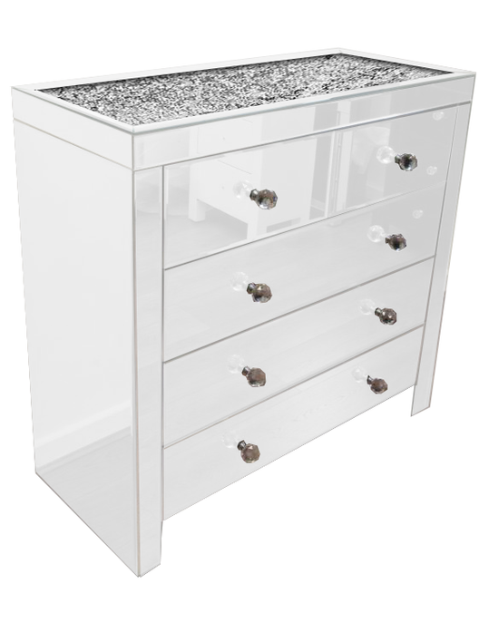 White Mirror Crush 5 Drawer Mirrored Chest of Drawers