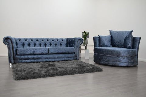 Anna Chesterfield 3 Seater and Cuddle Chair in Blue Velvet - Mirrored furniture - Sparkle Diamond - House of Sparkles