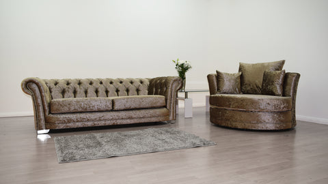 Anna Chesterfield 3 Seater and Cuddle Chair in Mink Velvet - Mirrored furniture - Sparkle Diamond - House of Sparkles