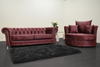 Anna Chesterfield 3 Seater and Cuddle Chair in Mulberry Velvet - Mirrored furniture - Sparkle Diamond - House of Sparkles