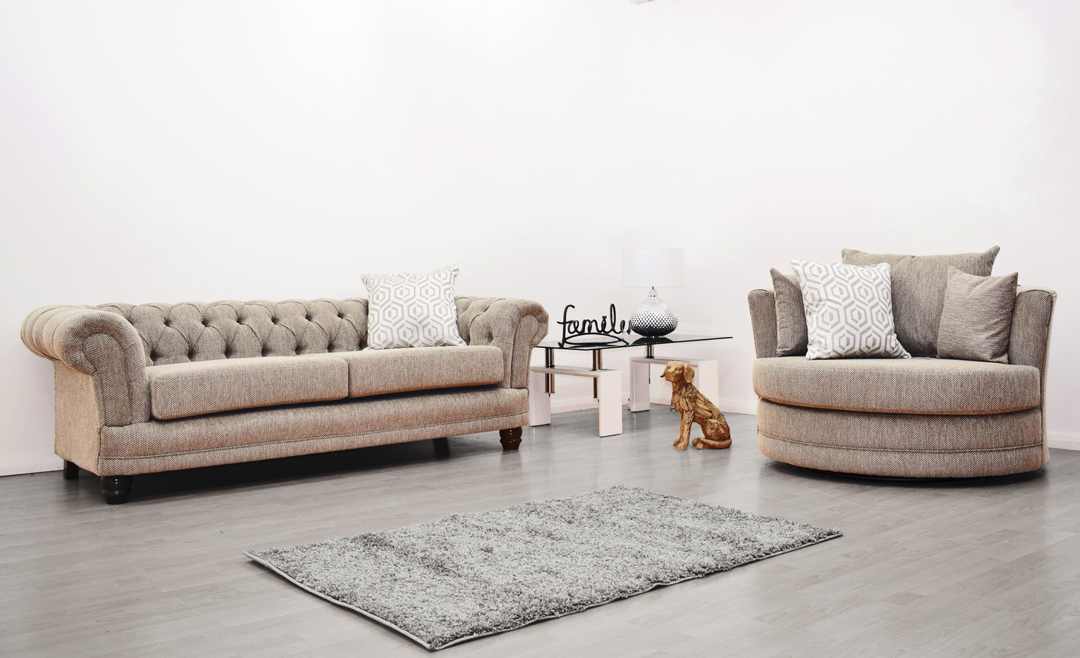 Anna Chesterfield 3 Seater and Cuddle Chair in Biscuit - Mirrored furniture - Sparkle Diamond - House of Sparkles