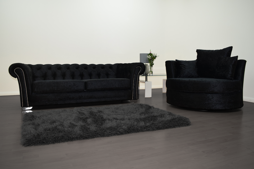 Anna Chesterfield 3 Seater and Cuddle Chair in Black Velvet | HOS Home | Mirrored furniture | Affordable Luxury