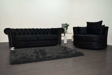 Anna Chesterfield 3 Seater and Cuddle Chair in Black Velvet - Mirrored furniture - Sparkle Diamond - House of Sparkles