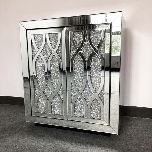 Diamond Crush Mirrored Cabinet | HOS Home | Mirrored furniture | Affordable Luxury