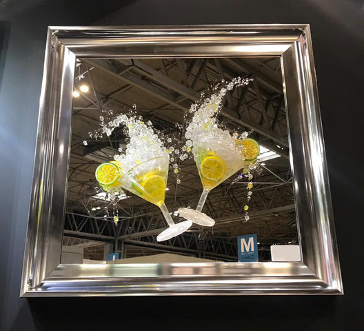 Lemon Martini Glasses 3D Mirrored Wall Art