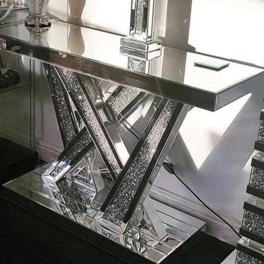 Abstract Diamond Crush Mirrored Console Table | HOS Home | Mirrored furniture | Affordable Luxury