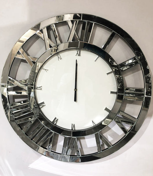 Mirrored Roman Numeral Wall Clock
