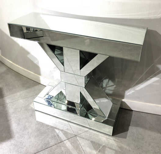 Crossed Pillar Classic Mirrored Console Table | HOS Home | Mirrored furniture | Affordable Luxury