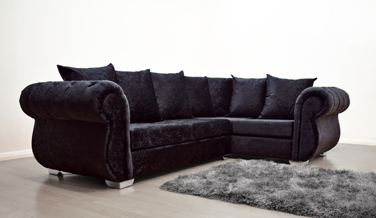 Buckingham Corner Sofa in Black Velvet | HOS Home | Mirrored furniture | Affordable Luxury