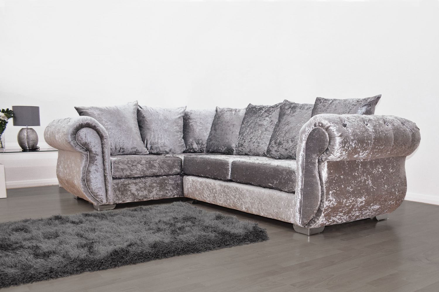 Buckingham Corner Sofa in Silver Velvet - Mirrored furniture - Sparkle Diamond - House of Sparkles