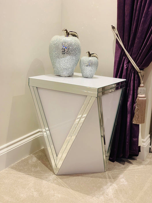 Premium White Mirror 'V' Mirrored Side Table
