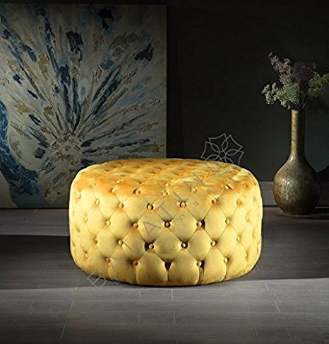 Yellow Dove Round Buttoned Pouffe