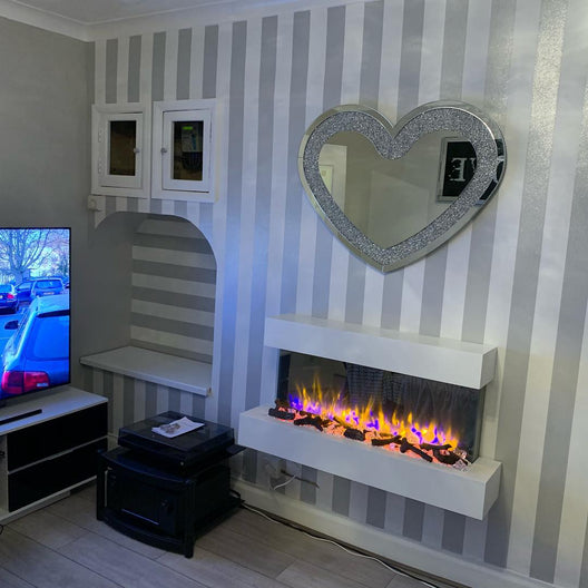 Diamond Crush Mirrored Heart Mirror | HOS Home | Mirrored furniture | Affordable Luxury