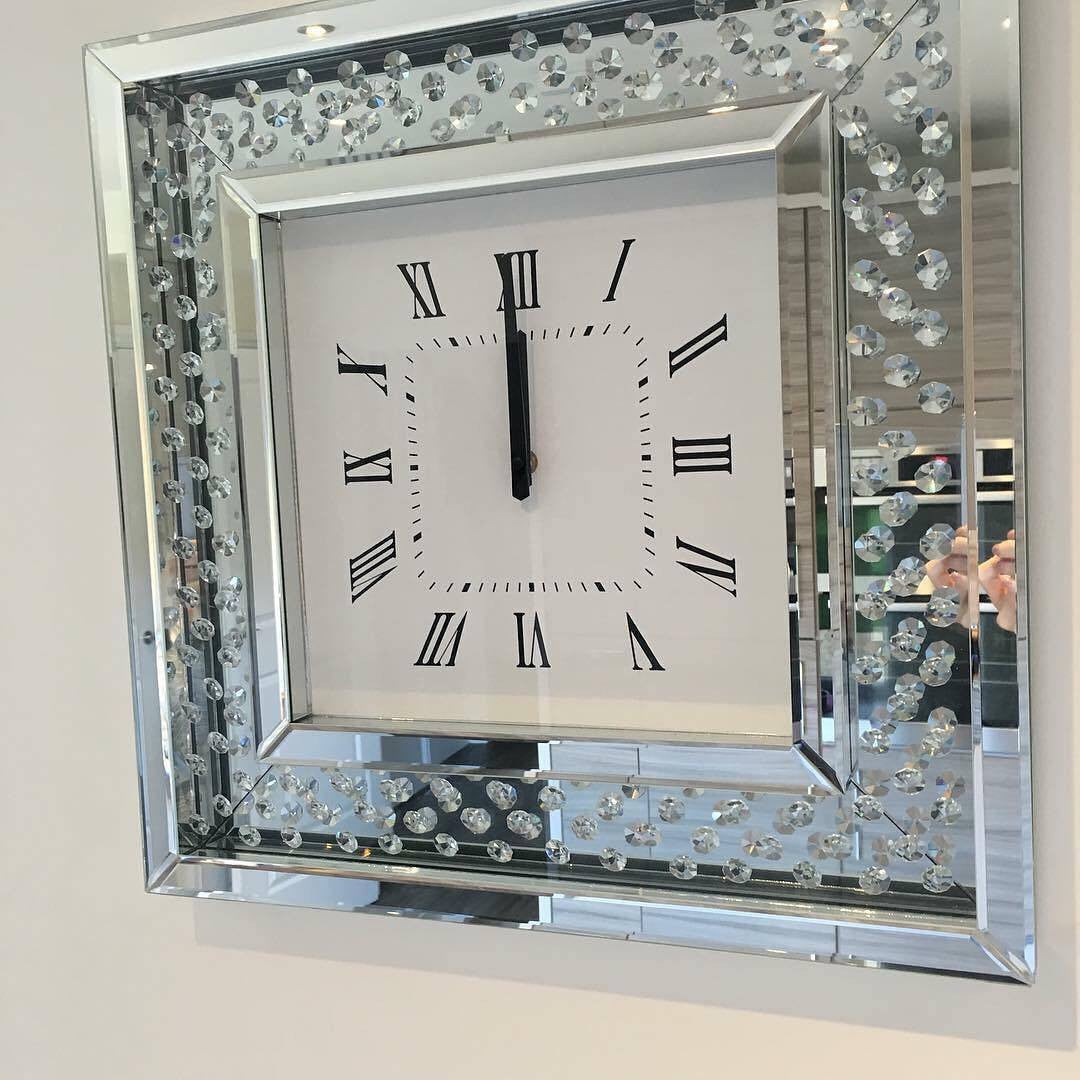 Diamond wall clock gallery home wall decoration ideas floating crystal diamond wall clock house of sparkles floating crystal diamond wall clock mirrored furniture sparkle amipublicfo Choice Image