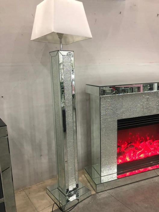 Diamond Glitz Mirrored Floorlamp | HOS Home | Mirrored furniture | Affordable Luxury