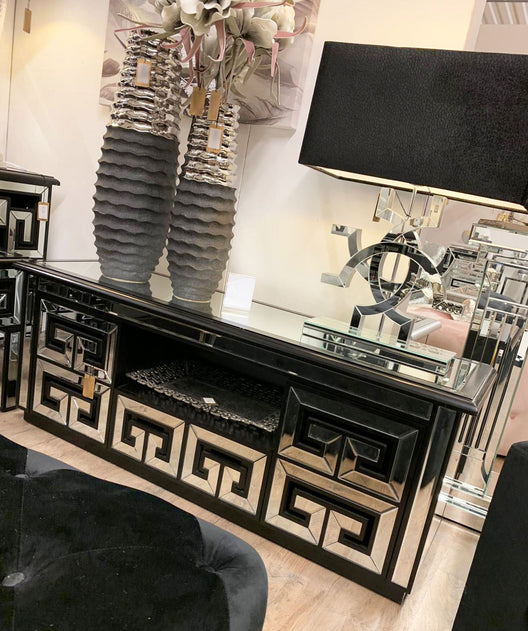 Aztec Mirrored Media Unit in Black | HOS Home | Mirrored furniture | Affordable Luxury