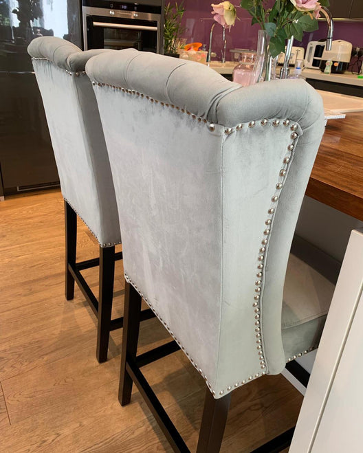 Silver Luxury Wingback Bar Stool
