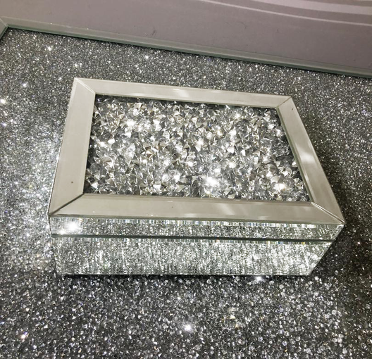 Diamond Crush Jewellery Box | HOS Home | Mirrored furniture | Affordable Luxury