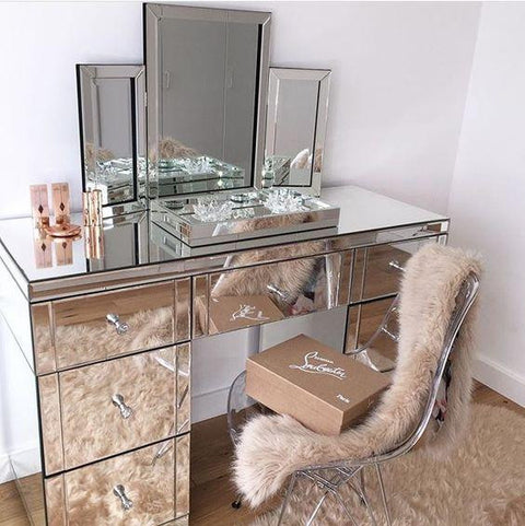7 Drawer Classic Mirrored Dressing Table - Mirrored furniture - Sparkle Diamond - House of Sparkles