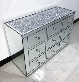 Diamond Crush 9 Drawer Mirrored Chest of Drawers | HOS Home | Mirrored furniture | Affordable Luxury