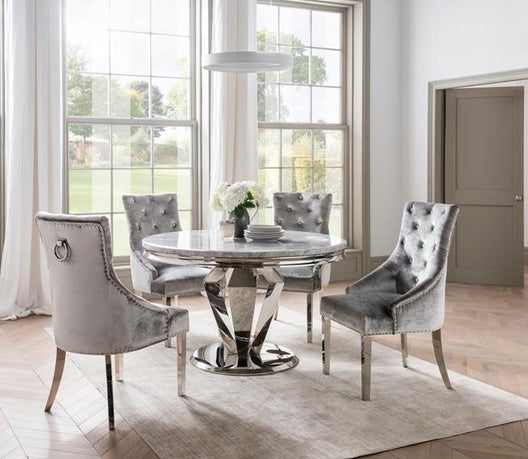 Aurora Circular Dining Table | HOS Home | Mirrored furniture | Affordable Luxury
