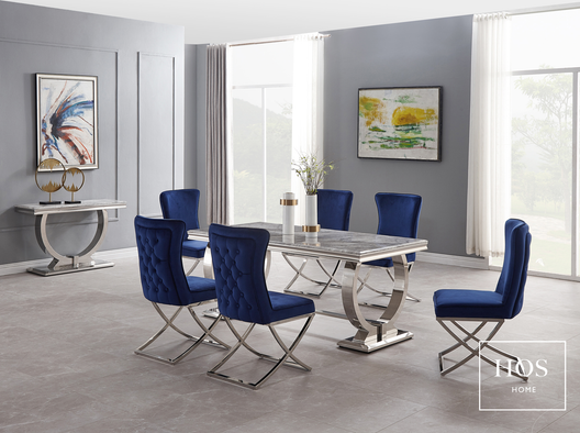 Arizona Dining Set with Aries Dining Chairs in Royal Blue | HOS Home | Mirrored furniture | Affordable Luxury
