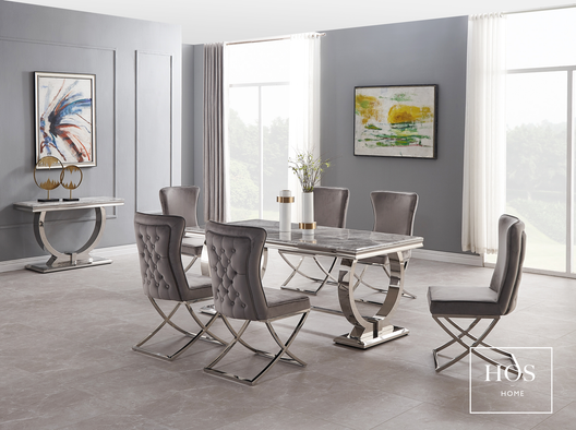 Arizona Dining Set with Aries Dining Chairs in Grey | HOS Home | Mirrored furniture | Affordable Luxury