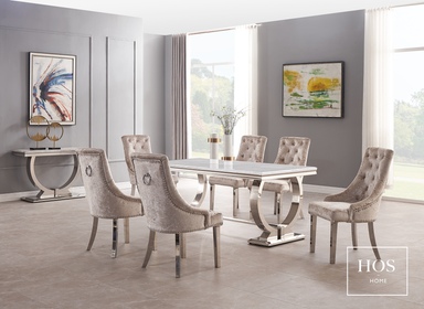 Arabella Dining Set with 8 Dining Chairs | HOS Home | Mirrored furniture | Affordable Luxury