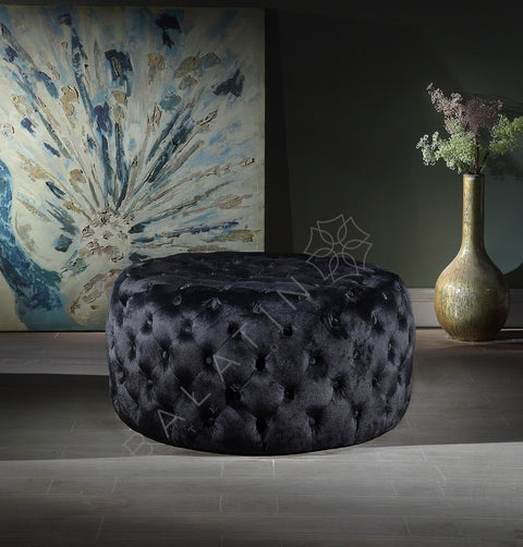 Black Shiney Dove Round Buttoned Pouffe