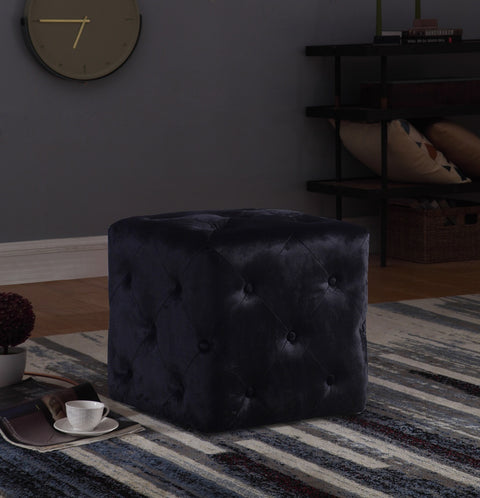 Black Square Dove Buttoned Stool