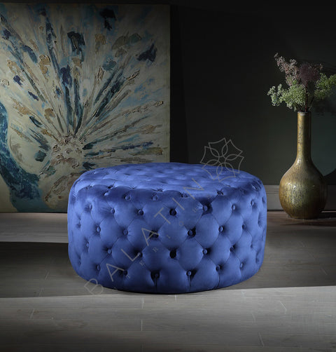 Blue Dove Round Buttoned Pouffe - Mirrored furniture - Sparkle Diamond - House of Sparkles