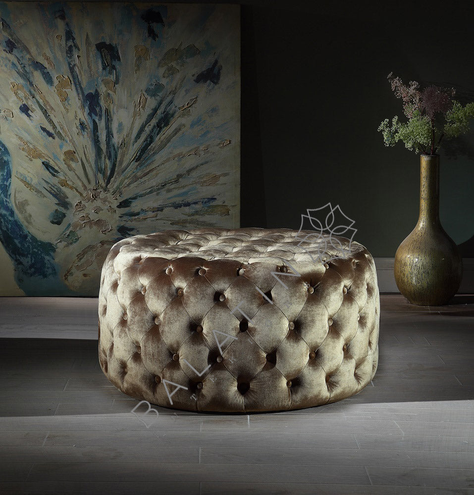 Brown Shiney Dove Round Buttoned Pouffe - Mirrored furniture - Sparkle Diamond - House of Sparkles