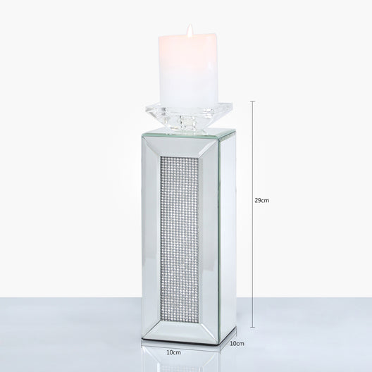 Diamond Glitz Mirrored Candle Holder | HOS Home | Mirrored furniture | Affordable Luxury