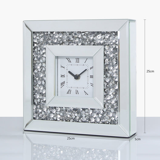 Diamond Crush Mirrored Table Clock | HOS Home | Mirrored furniture | Affordable Luxury